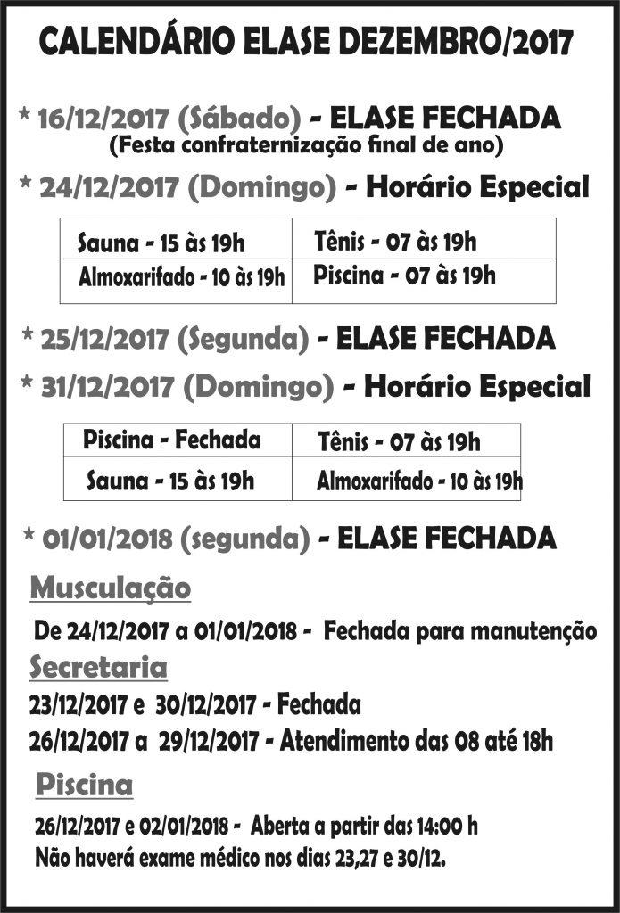 Calendário Dezembro 2017 Elase