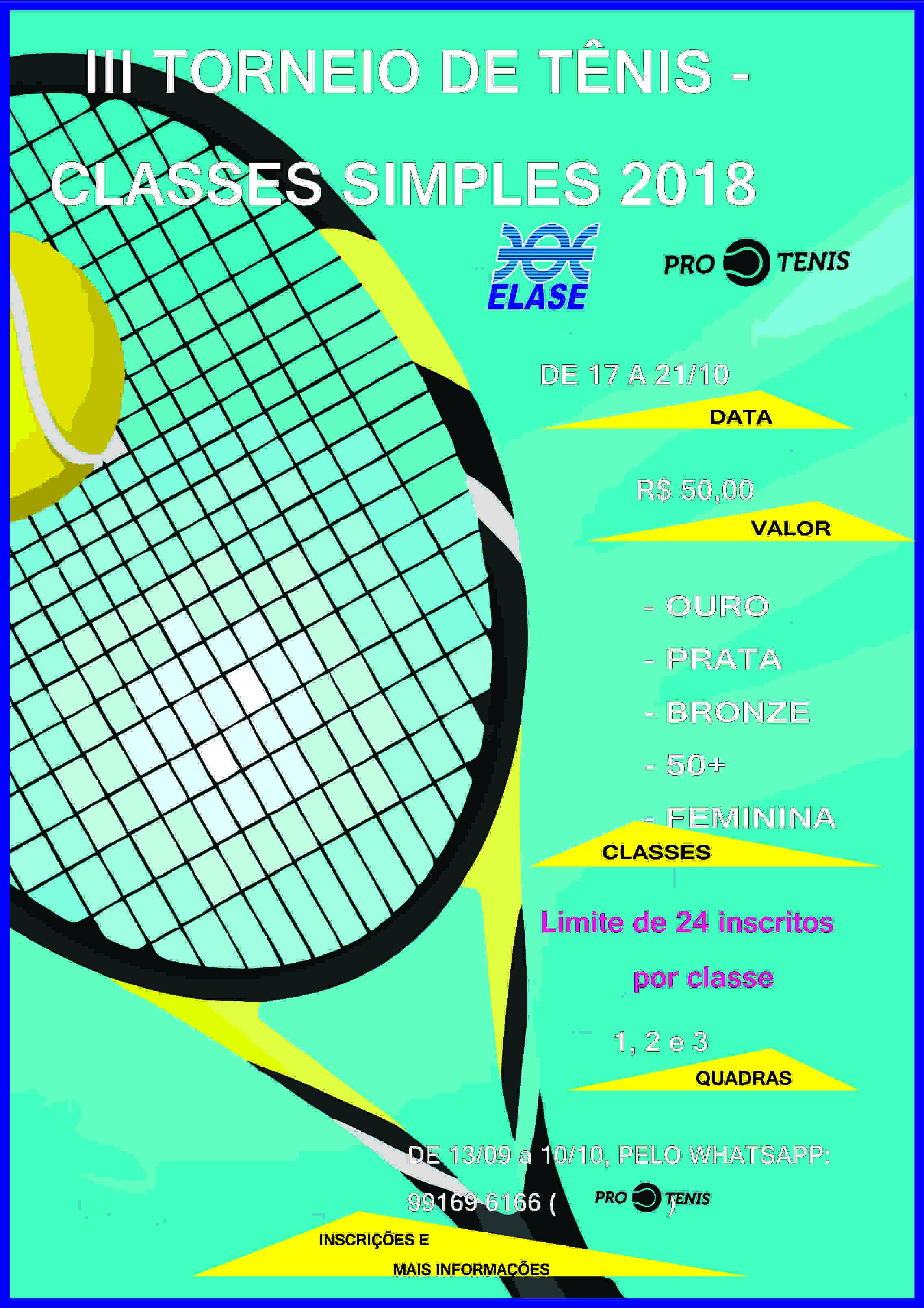 Cartaz II Torneio de Tênis Classes Simples 2018 - Elase 34a7f41d7df7d